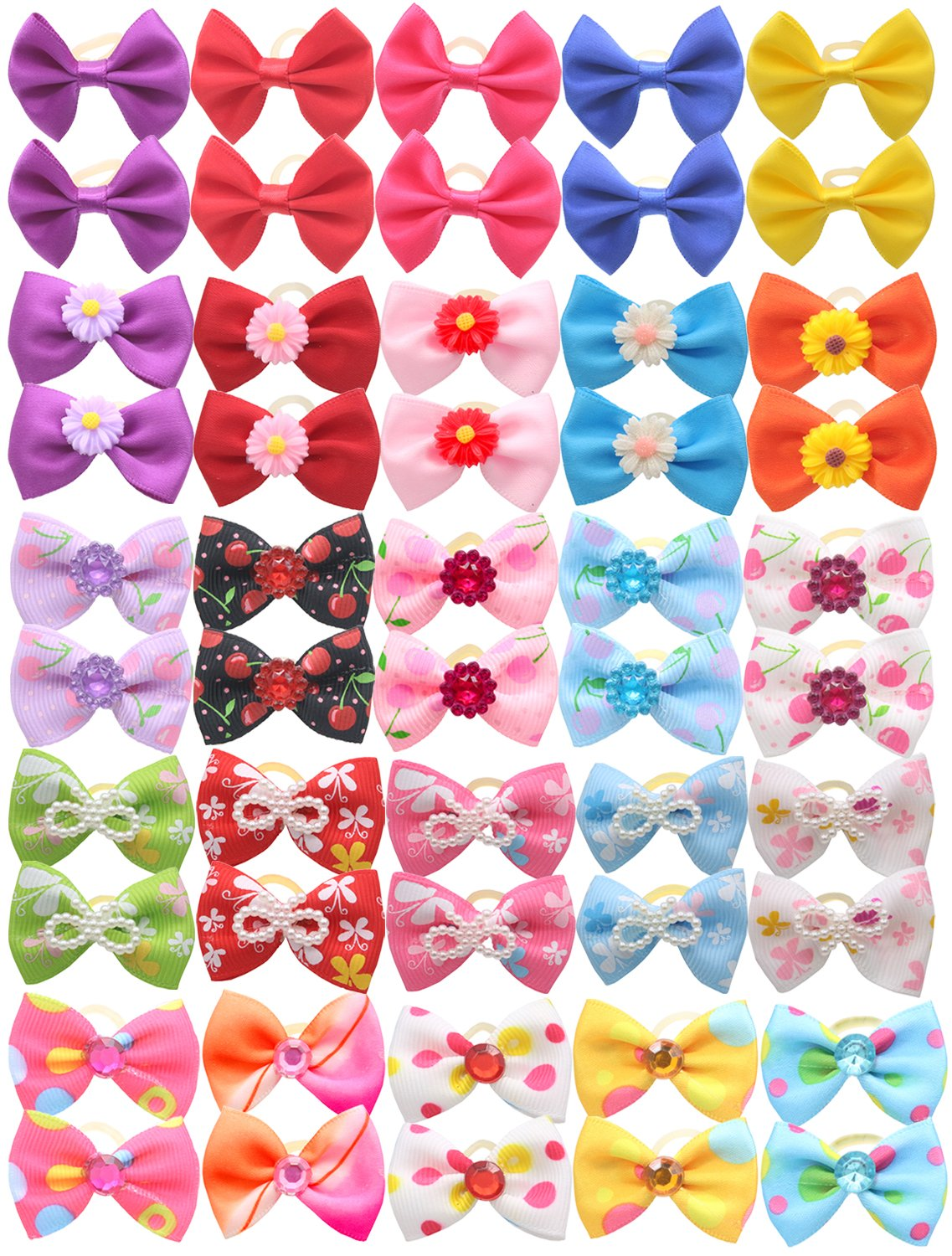 YOY 50pcs/25 Pairs Adorable Grosgrain Ribbon Pet Dog Hair Bows with Rubber Bands - Puppy Topknot Cat Kitty Doggy Grooming Hair Accessories Bow knots Headdress Flowers Set for Groomer