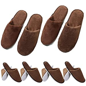 6 Pairs Spa Slippers - Closed Toe Fluffy Coral Fleece slippers,Non-Slip Slippers Fit Size for Men and Women,Thicken Washable Slippersfor Hotel Home Guest Used (Brown)