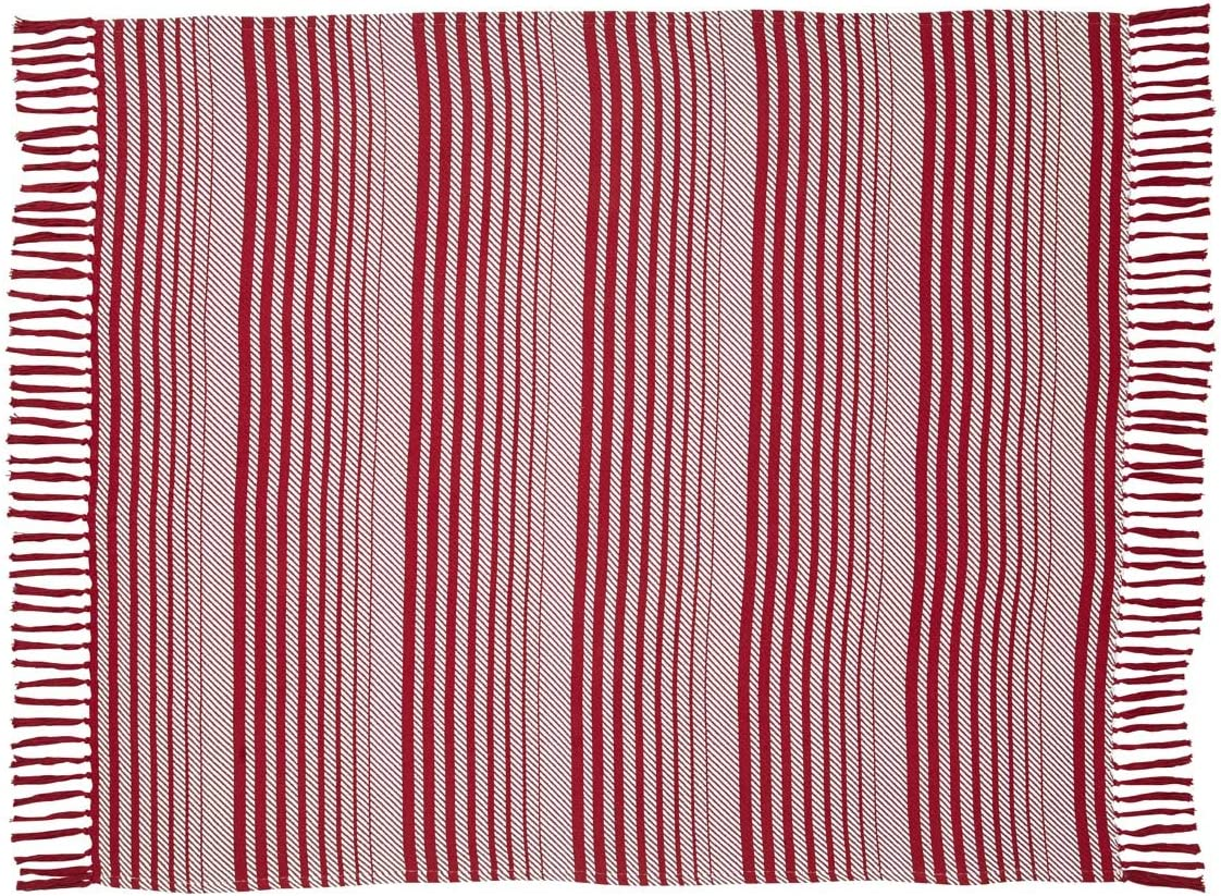 VHC Brands Christmas Holiday Pillows Throws-Whimsical Candy Cane Stripe Red Woven Throw