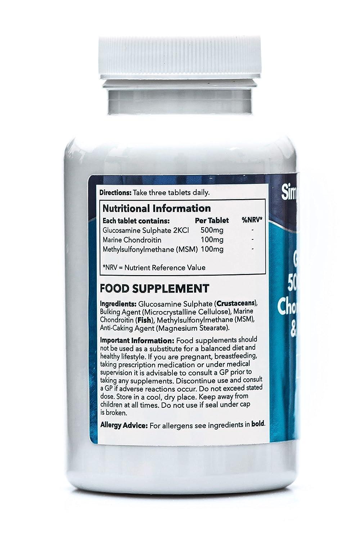 Glucosamina, Condroitina y MSM - 120 comprimidos - Favorece unas articulaciones sanas - SimplySupplements: Amazon.es: Salud y cuidado personal
