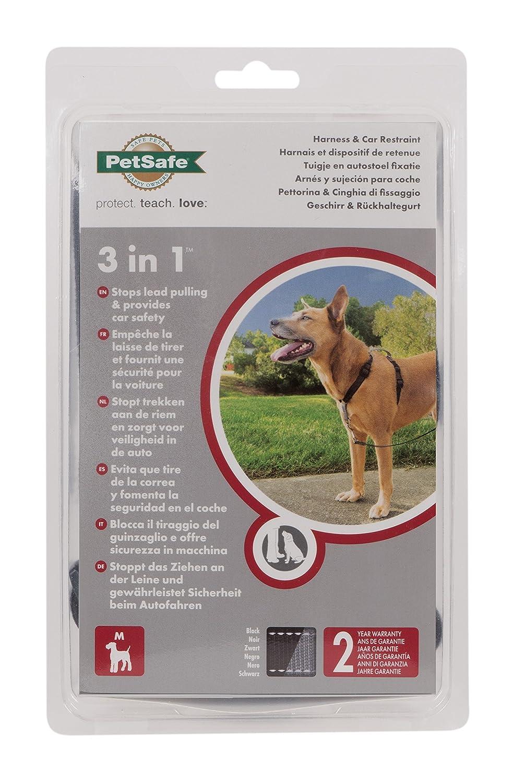 Reflektoren kein Ziehen PetSafe 3 in 1 Hundegeschirr schwarz Autosicherheitsgeschirr Tragekomfort Geschirrgriff