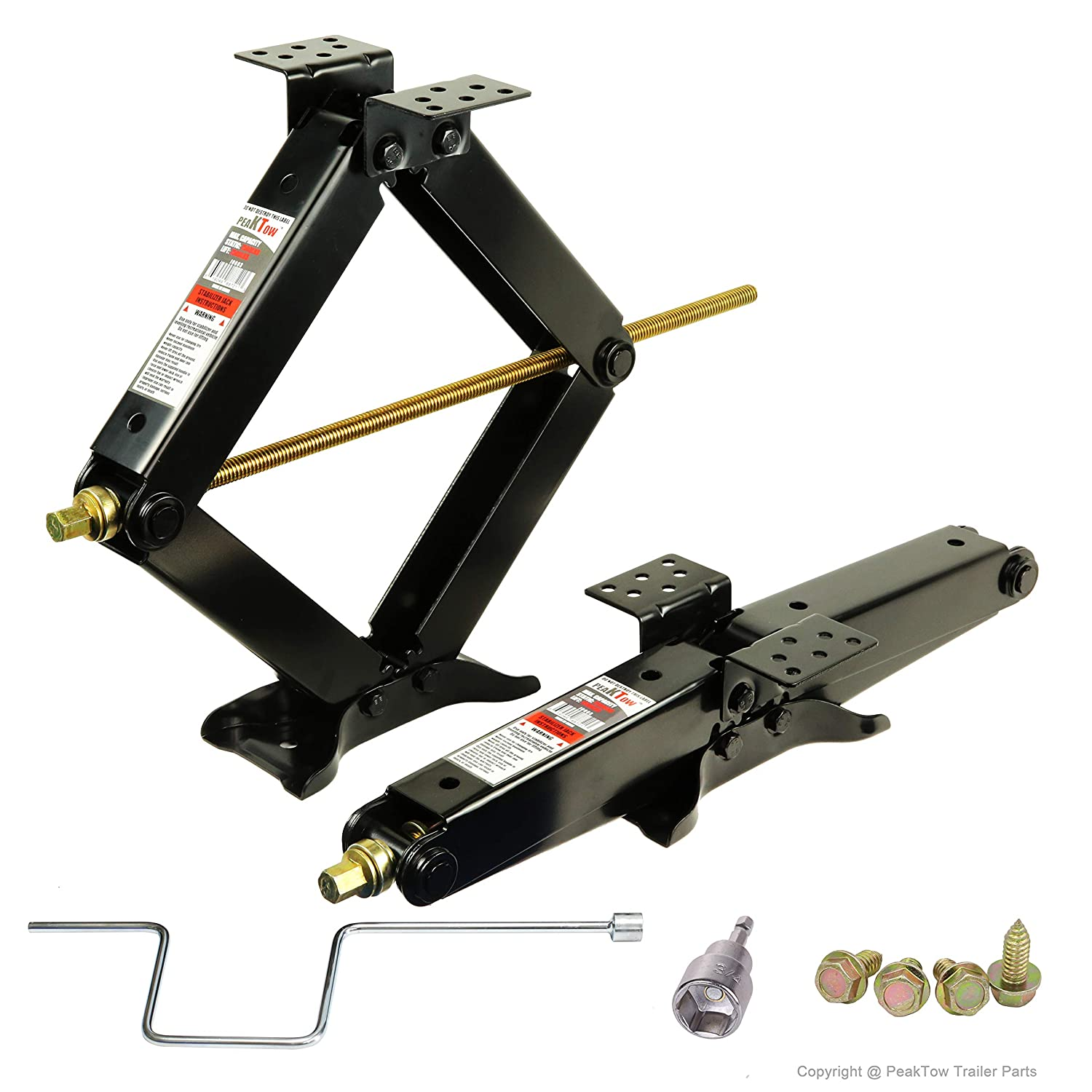 PEAKTOW PTJ0603 Including Handle & Power Drill Socket & Hardware 7500lb. 24 Inches RV Trailer Stabilizer Leveling Scissor Jacks Pack of 2 Autto Web Service Inc.