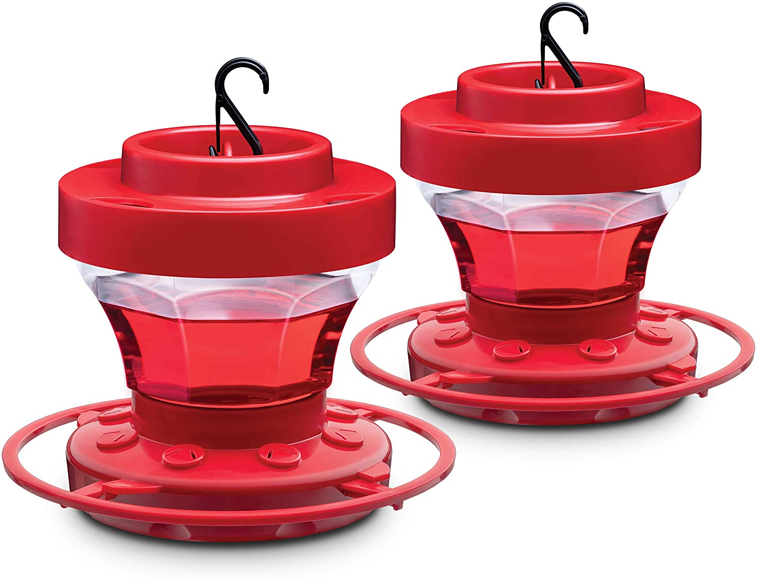 Bee Proof Hummingbird Feeder 16 oz [Set of 2] Plastic Hummingbird Feeders for Outdoors With Ant Guard - Circular Perch With 8 Feeding Ports - Wide Mouth for Easy Filling/2 Part Base for Easy Cleaning