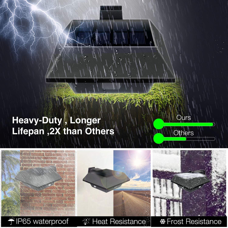 Warmwei/ß, Schwarze Schale-6led IP65 Wasserdicht f/ür Wand Garten Balkon Zaun Solarbetriebene LED Aussenlampe Dachrinnen Lampen