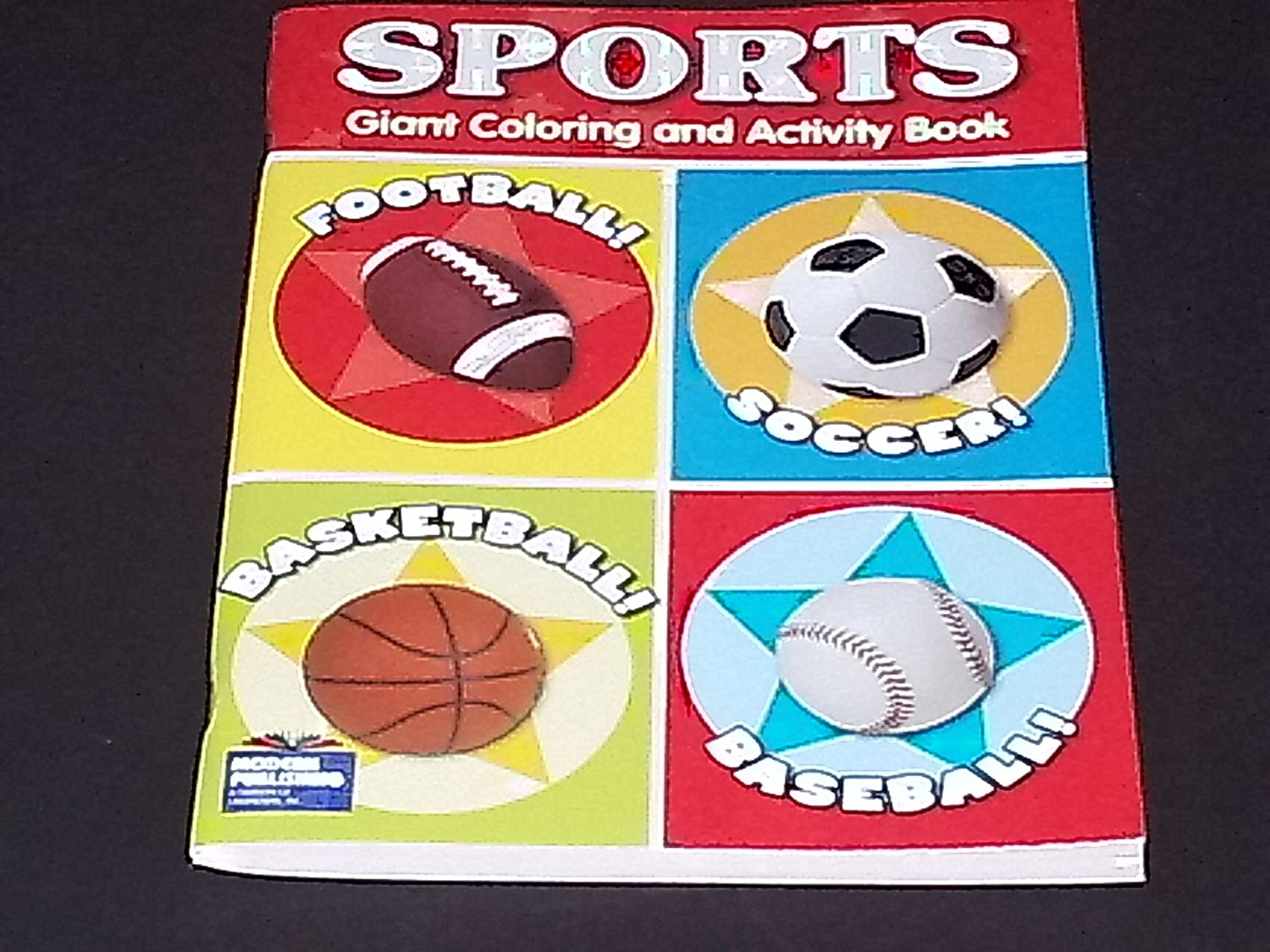 Sports Theme Giant Farbeing & Activity Book  Baseball, Basketball, Football, & Soccer! by Full 90