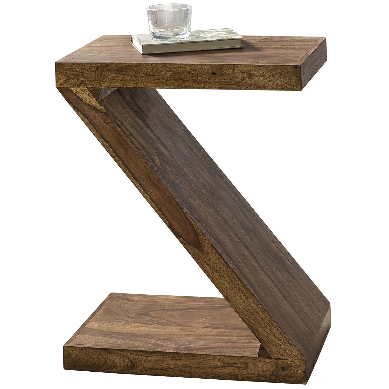 WOHNLING Beistelltisch Massiv-Holz Sheesham 59 cm Wohnzimmer-Tisch Design dunkel-braun Landhaus-Stil Couchtisch Natur-Produkt Standregal Unikat Zeitungshalter Massivholzmöbel Echtholz Anstelltisch