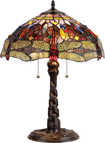 "Chloe Lighting CH33341DY16-TL2 ""Dragan"" Tiffany-Style Dragonfly 2 Light Table Lamp 16″ Shade"