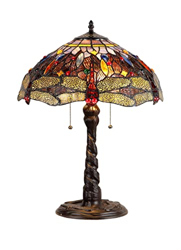 Chloe Lighting CH33341DY16-TL2 Dragan Tiffany-Style Dragonfly 2 Light Table Lamp 16 Shade