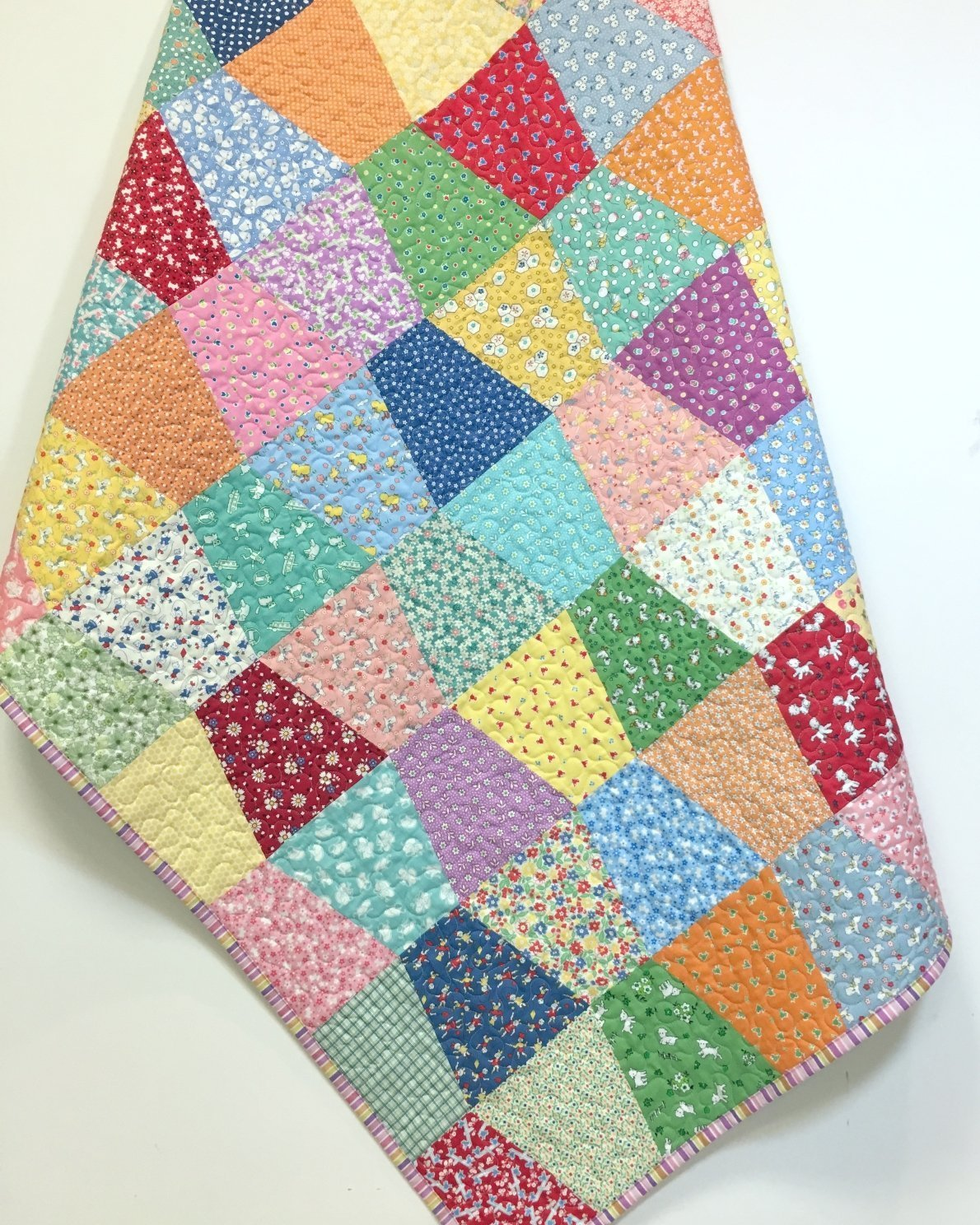 Baby Girl Quilt 1930's reproduction prints Scrappy Old Fashioned Tumbler Crib Nursery Bedding
