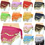 3 ROWS BELLY DANCE HIP SCARF WRAP BELT DANCER SKIRT COSTUME COINS ALL COLOURS (purple)