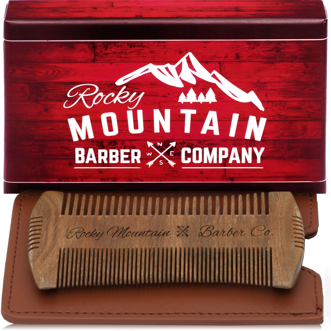 Beard Comb - Sandalwood Natural Hatchet Style for Hair - Anti-Static & No Snag, Handmade Wide & Fine Tooth Contour Brush Best for Beard & Moustache with Carrying Case Pouch Rocky Mountain Barber Company BC-51