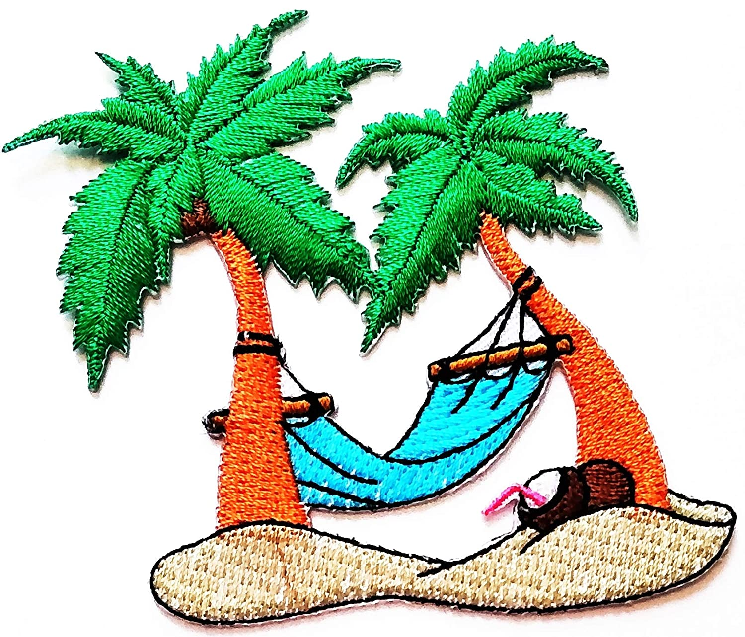 Nipitshop Patches Beautiful Coconut Palm Tree Island Summer Beach Hawaii Cartoon Patch Embroidered Iron On Patch for Clothes Backpacks T-Shirt Jeans Skirt Vests Scarf Hat Bag