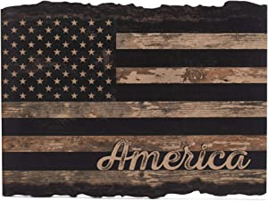 P. Graham Dunn American Flag Rustic Distressed 9 x 12 Wood Bark Edge Design Wall Art Sign