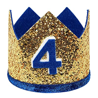 Maticr Shiny 2nd 3rd Birthday Crown Baby Boy Prince Headband Party Supplies (Large Gold Royal 4): Clothing