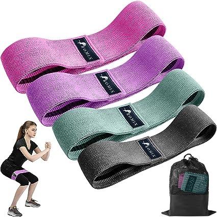 ROMIX Bandes de R/ésistance Bande /Élastique Fitness en Tissu avec 4 Niveaux de Force et Sac Transport 4 Pcs Gym Exercices /Étirements /Équipement pour Musculation Yoga Sport Entrainement Homme Femme