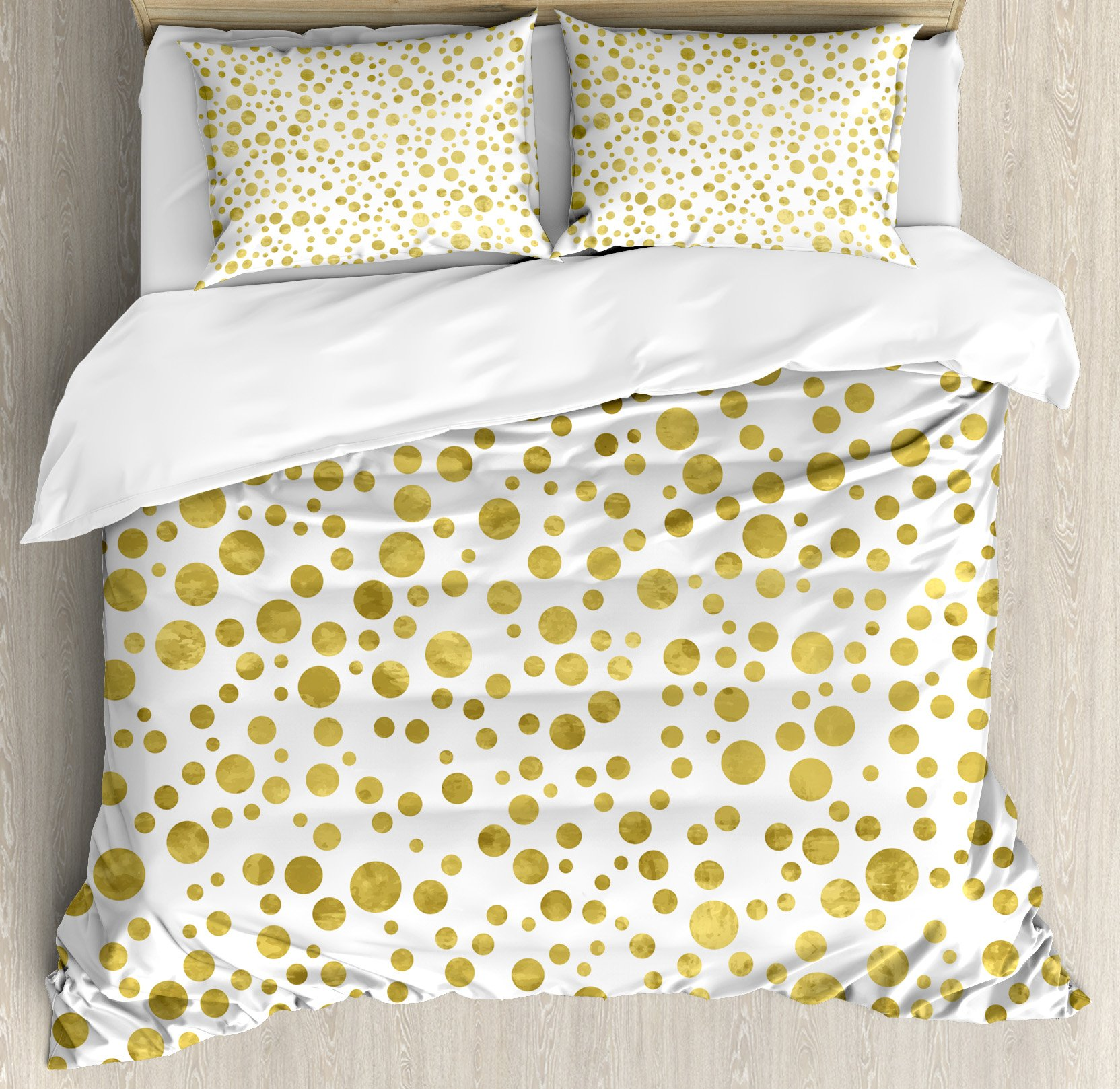Polka Dots Duvet Cover Set by Ambesonne, Illustration of Golden Polka Dots Vintage Style Art Deco Pattern Bridal Decor, 3 Piece Bedding Set with Pillow Shams, King Size, Gold White