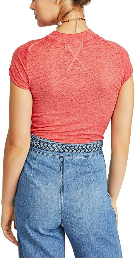 Free People OB889718 Night Sky Crewneck Fitted Short Sleeve T-Shirt Ballet Pink