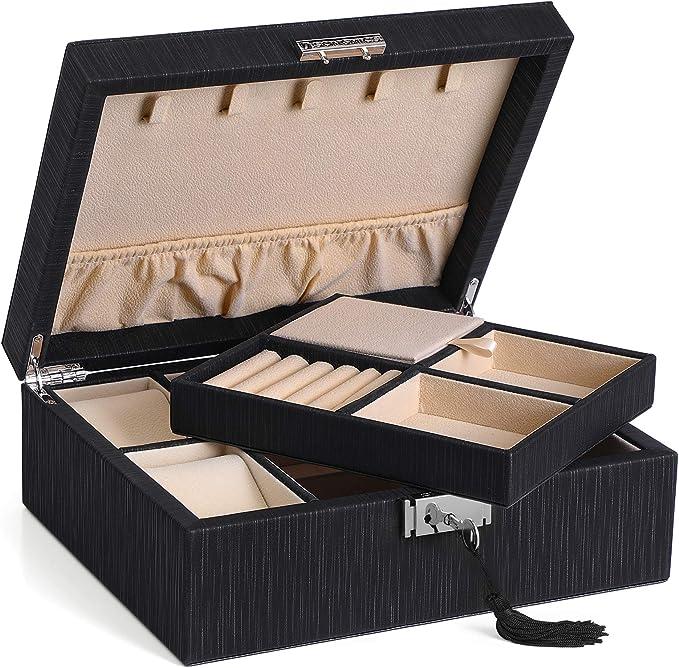 Allinside Bo/îte /à Bijoux de 2 Niveaux Doublure en Velours Coffret /à Bijoux Verrouillable en Cuir PU