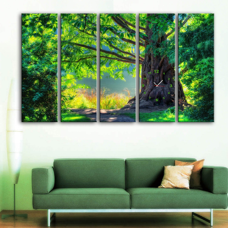 E-HOMEグリーン木時計でキャンバス5ピース壁時計 (30x90cmx5pc) B01N1HS5JS30x90cmx5pc