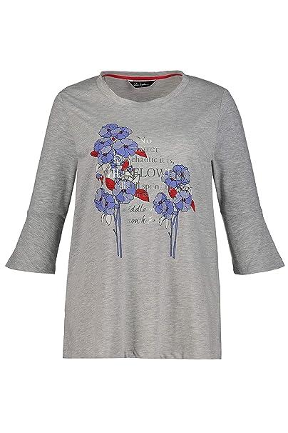 a5f5e580c6 Ulla Popken Women's Plus Size Floral Slogan Print Tee 720599 at Amazon  Women's Clothing store: