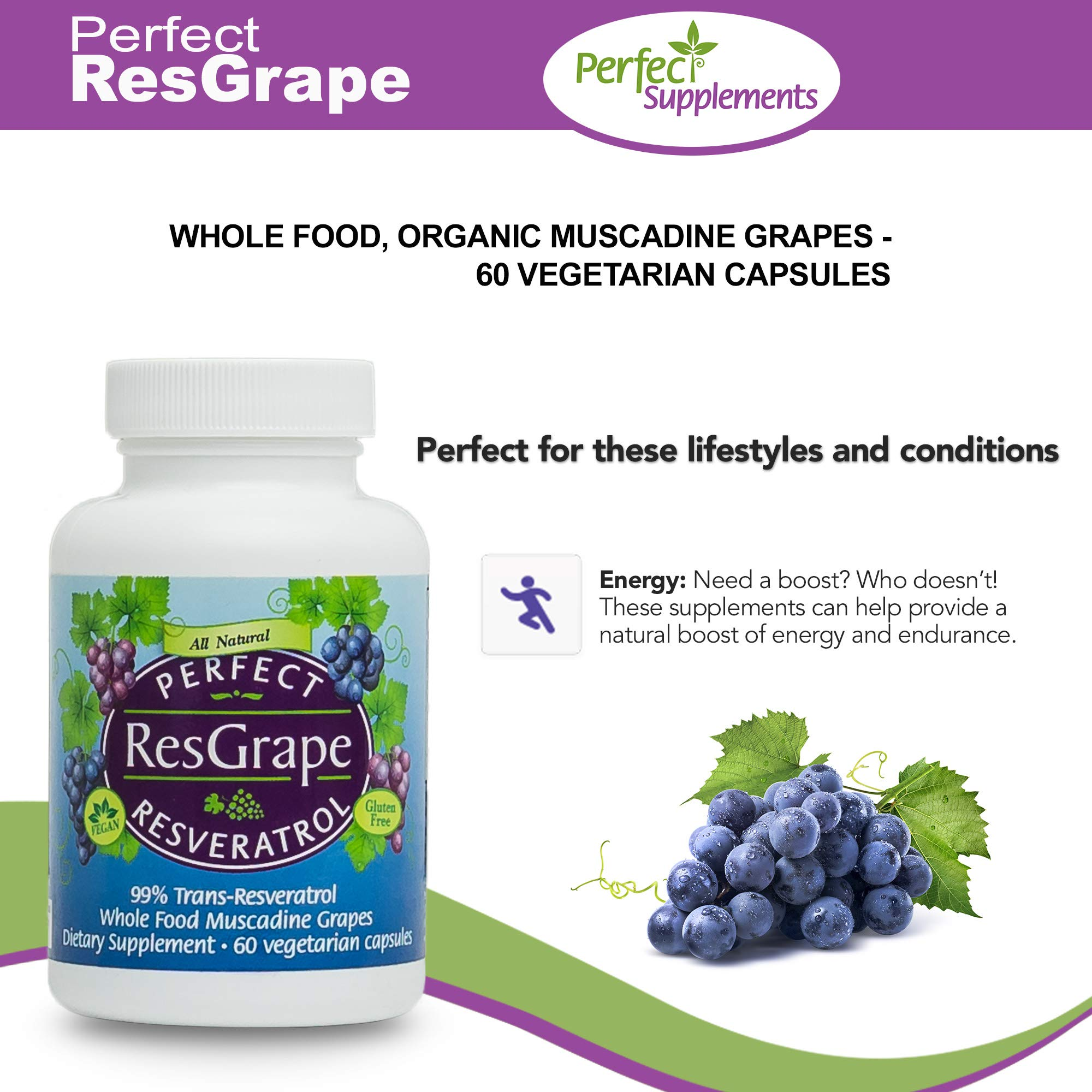 Perfect Resgrape Resveratrol Supplement - 200mg 99% Trans-Resvertarol - Made From Organic Muscadine Grapes - 60 Vegetable Capsules by Perfect Supplements (Image #3)