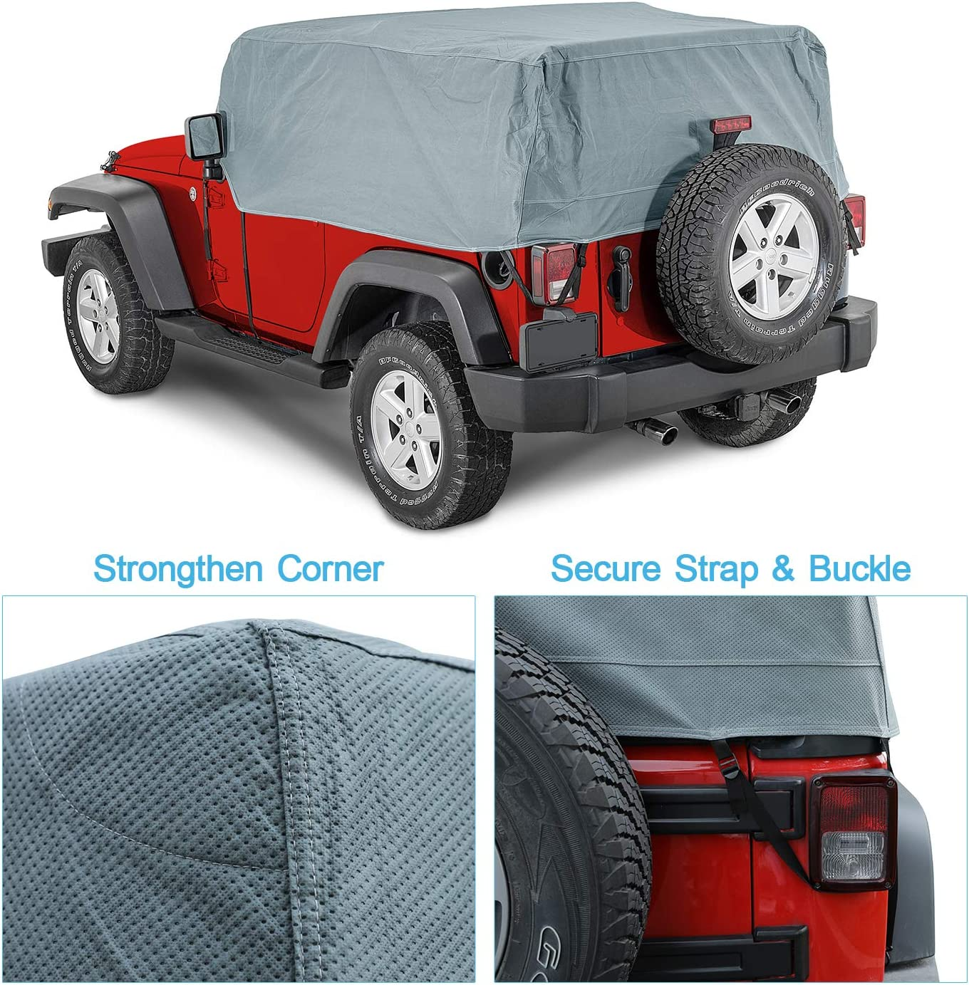 100/% UV Protection Breathable SUV Car Cover Fit 2007-2018 Models OOFIT 5 Layers Jeep Cab Cover Jeep Wrangler Unlimited 2 Door Car Cover Windproof Dustproof Scratch Proof