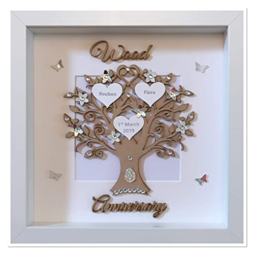NEW PERSONALISED WOOD 5th ANNIVERSARY GIFT WOOD = 5 YEARS FRAME NOT INCLUDED
