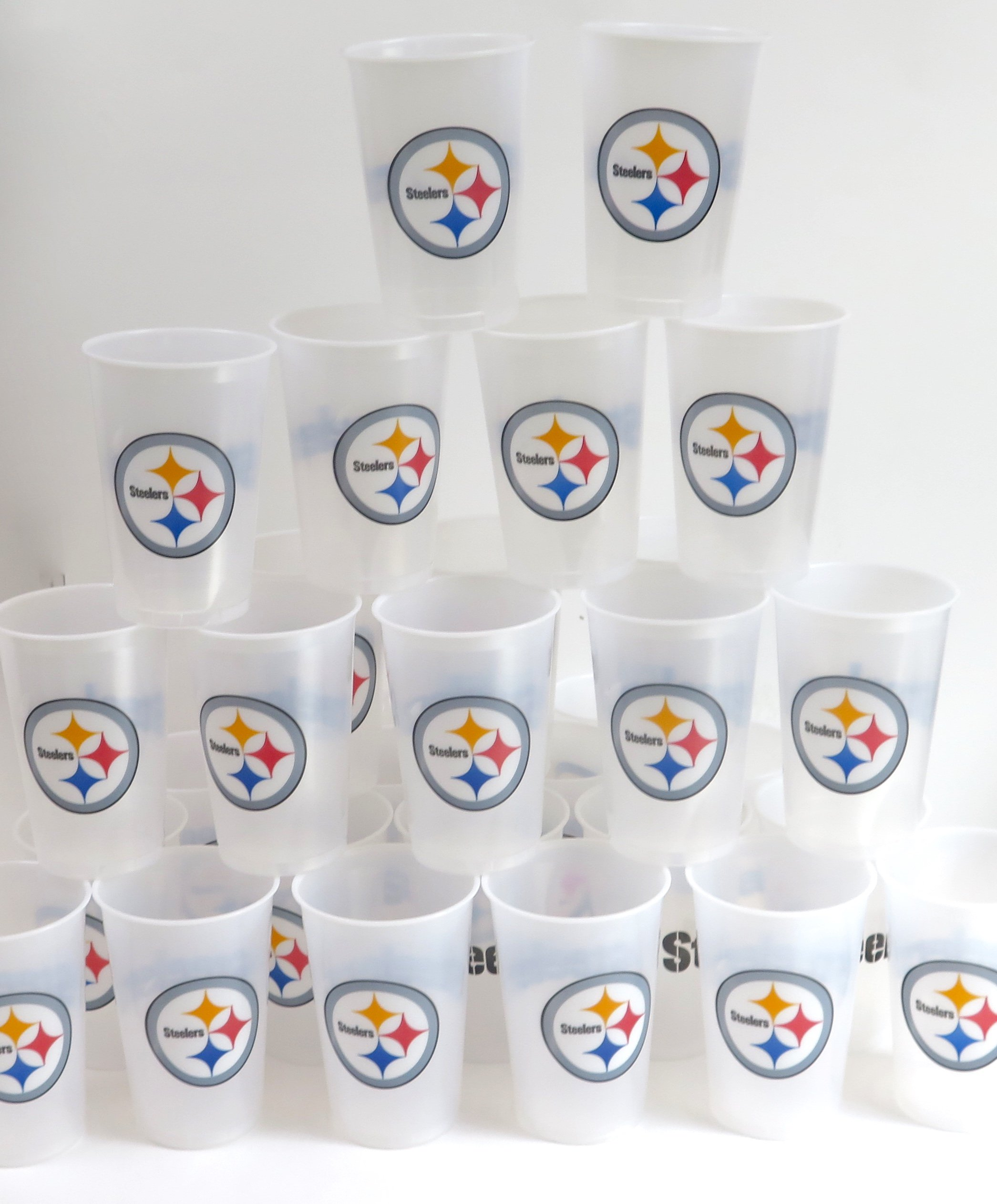 Pittsburgh Steelers barbecue cookout 4th of July Jumbo party cups set of 36. Large plastic colorful 18 oz. game day plastic cups