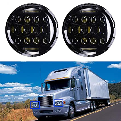 7 Inch LED Round Headlight High Low Double Beam DRL 6000K Cool White For Freightliner Century Class 2 Pcs