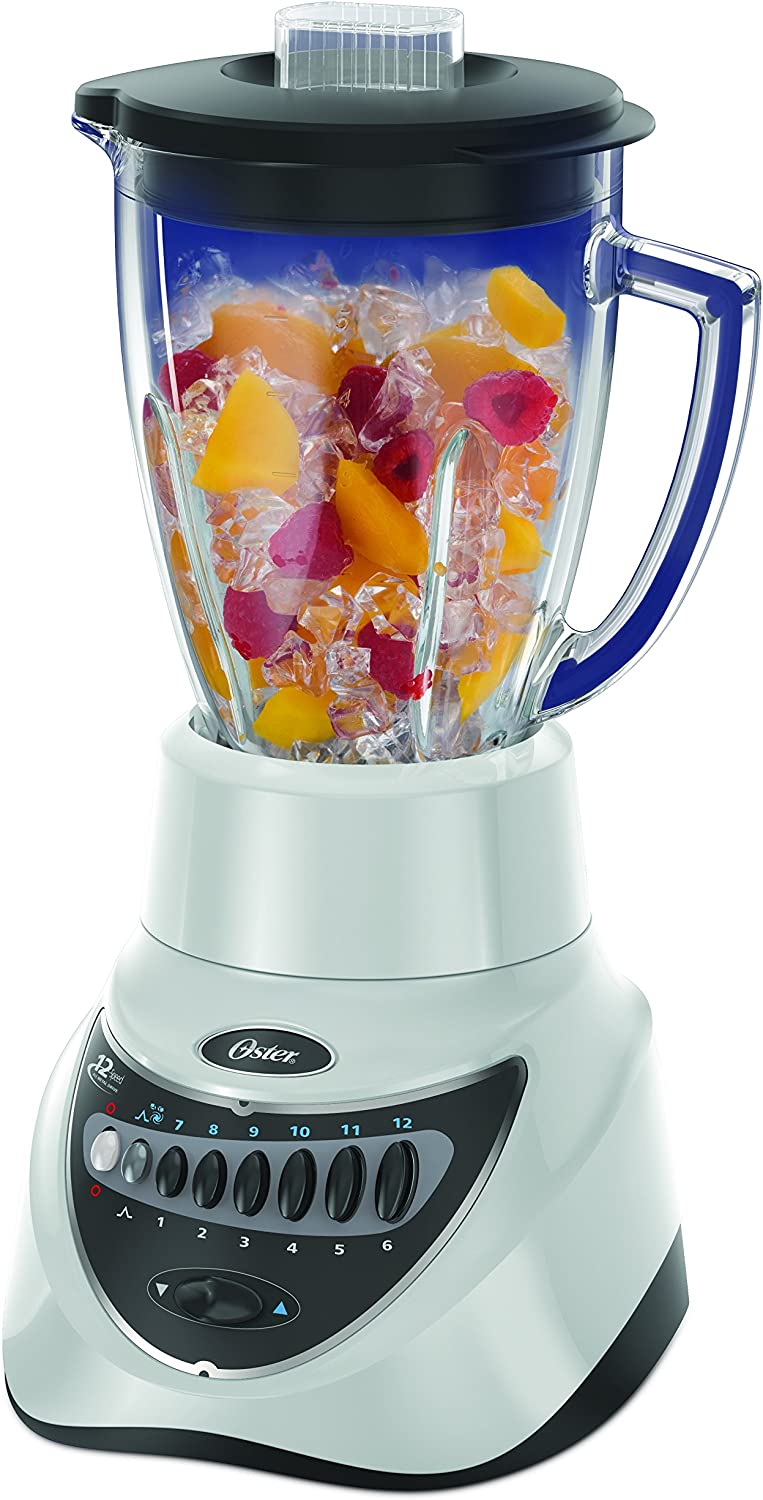 Oster BLSTEG7805W Glass Jar Blender, 220 Volts (Not for USA), 12 Speed 6-Cup, White