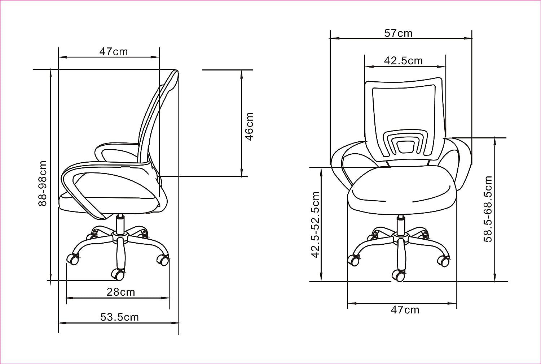 La sedia spagnola Ribadeo Sedia di Ufficio Senza poggiatesta 61x58x89 cm Gialla