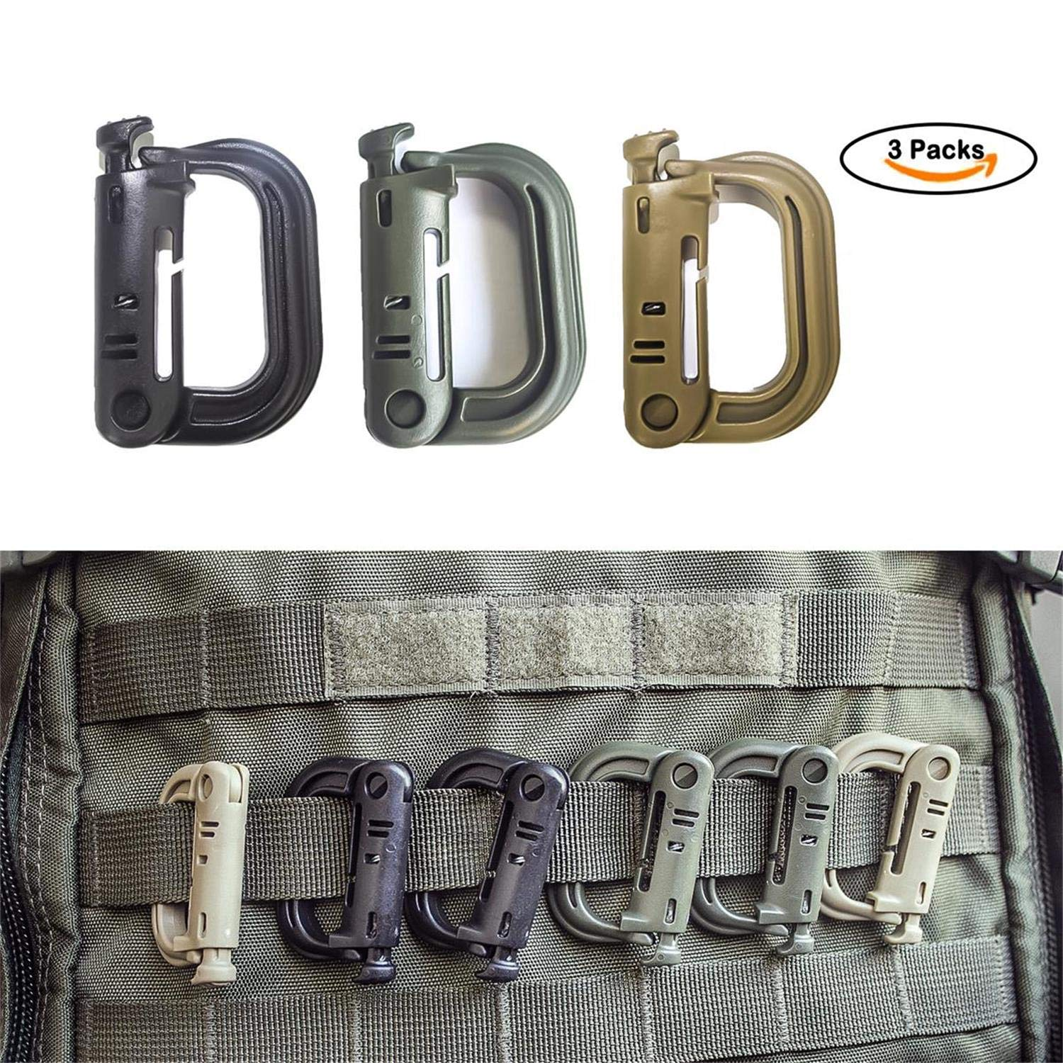 Akmax.cn Multipurpose D-Ring Locking Hanging Hook Tactical Link Snap Keychain Button Release Molle Clip for Tactical Bag,Backpack(3Packs)
