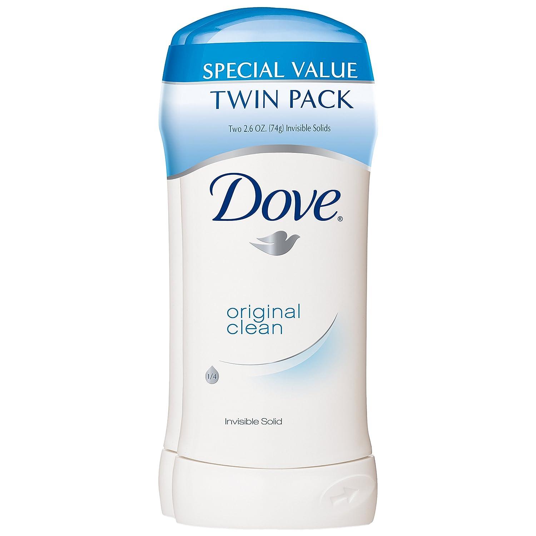 Dove Antiperspirant Deodorant, Original Clean 2.6 Ounce, Twin Pack