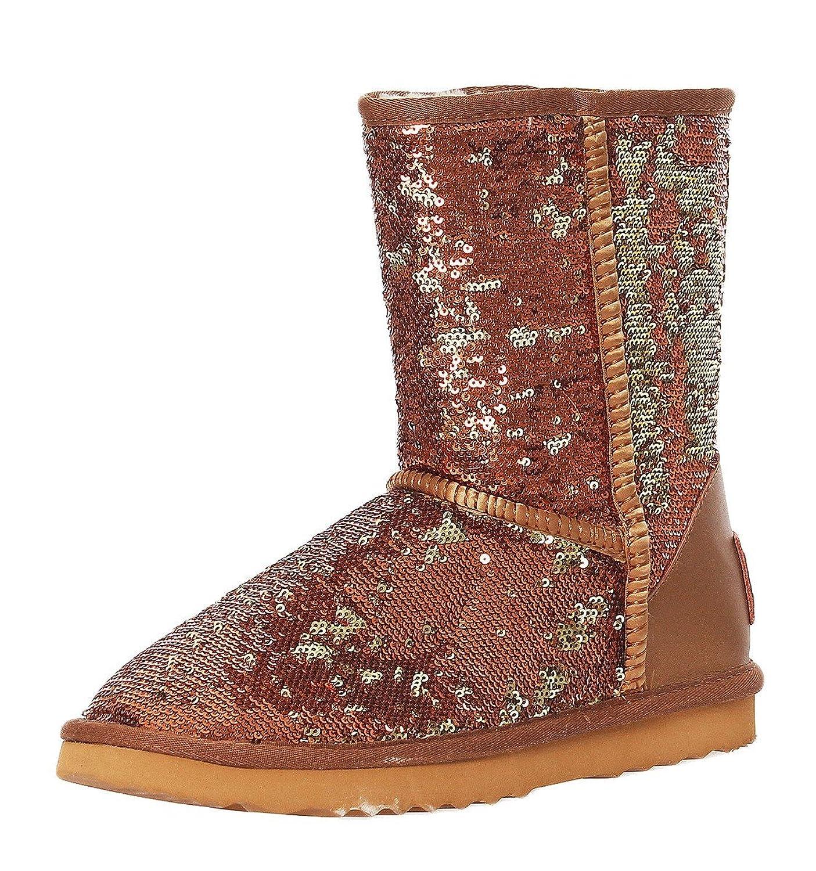 Aktuelle Damen Stiefel Schuhe Warm gefutterte Leder Boots 5992 Dunkelbraun 37