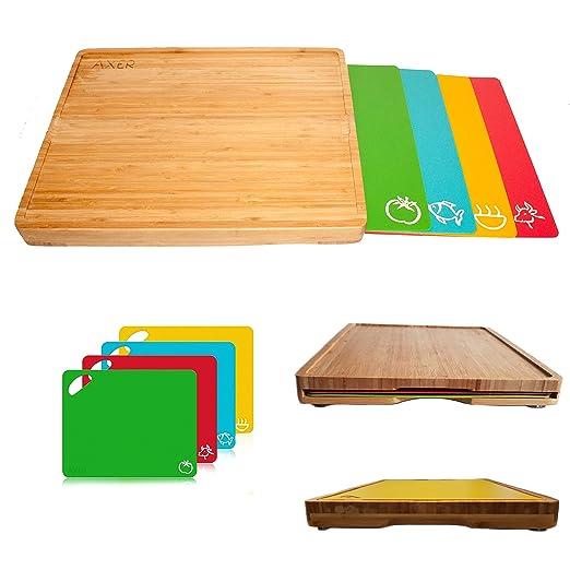 Axer - Juego de 4 tablas de cortar de plástico flexible, con ...