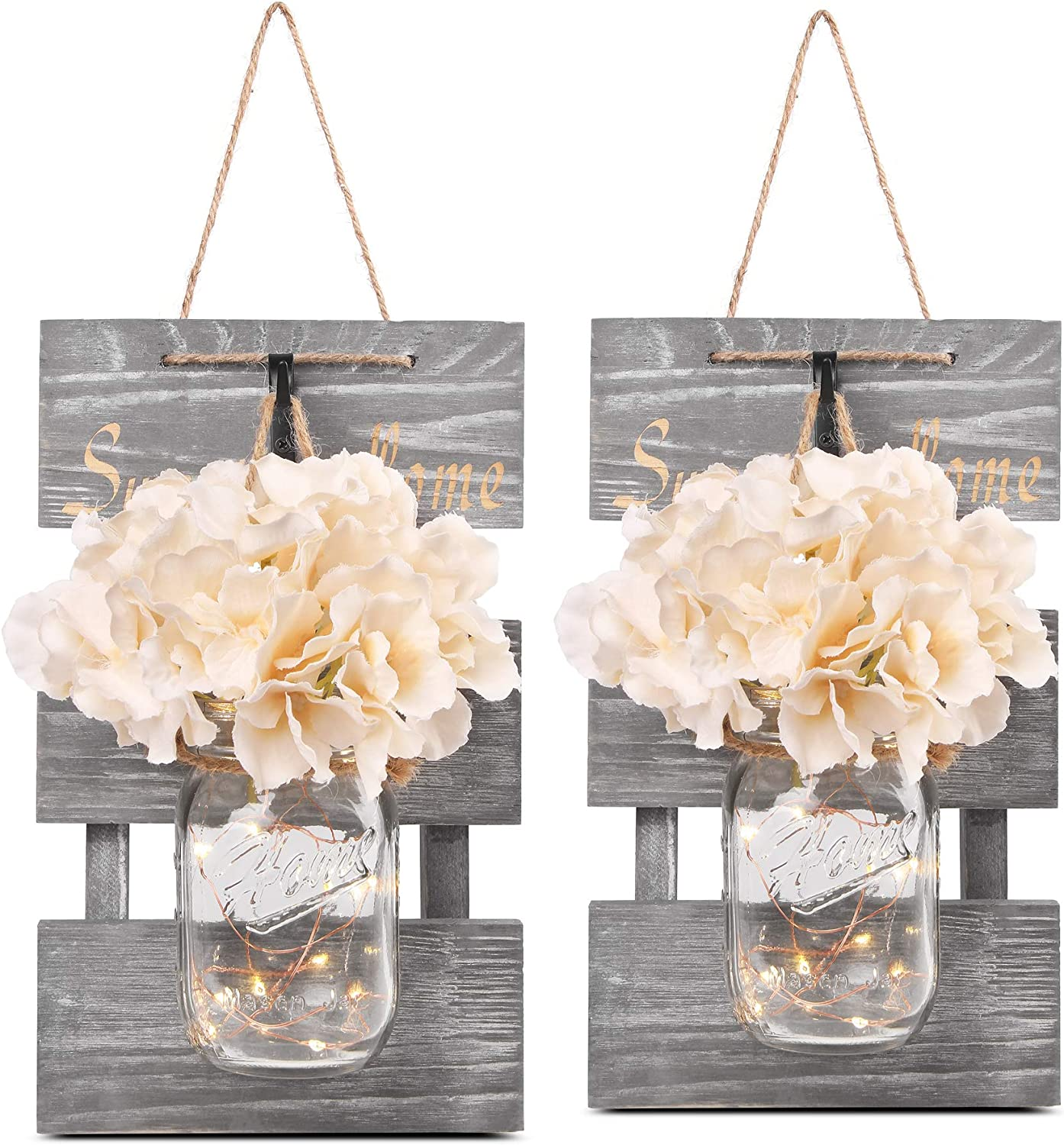 Besuerte Rustic Lighted Mason Jars for Farmhouse,Home Decor,Living Room, Bathroom, Hanging Vintage Wall Sconce 6-Hour Timer(Set of 2),Gray