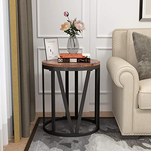 Round End Table 20 Rustic Side Table for Living Room Industrial Coffee Table with Roman Numerically Shaped Iron Legs 20