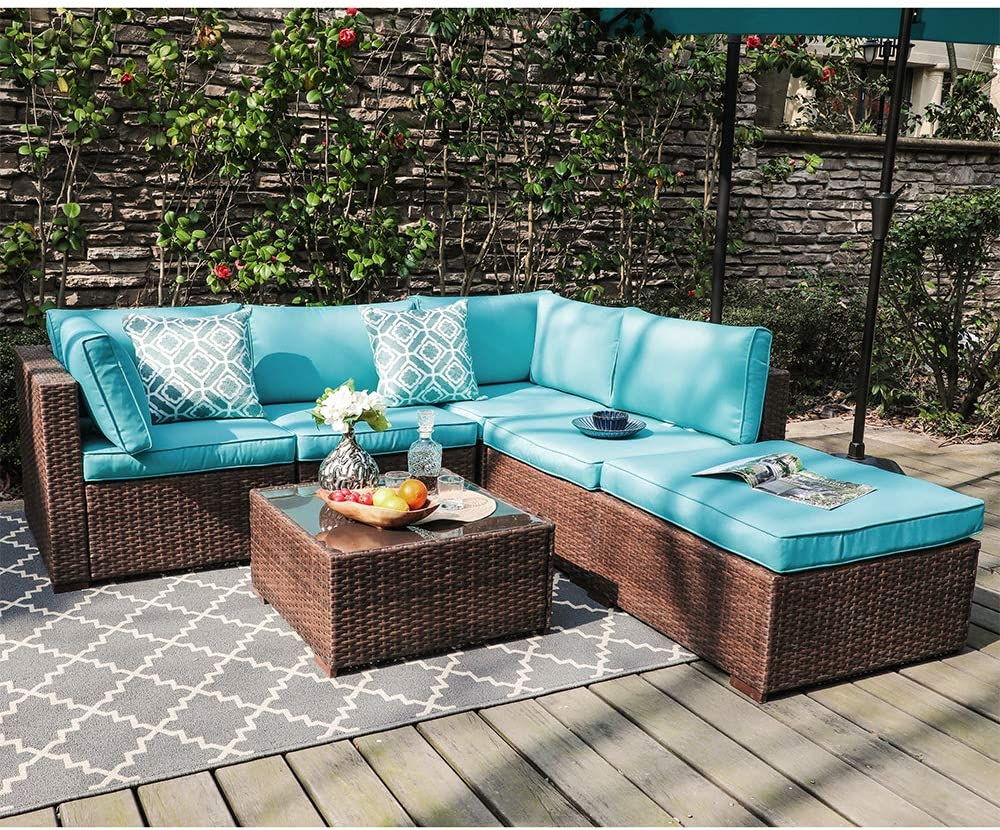 OC Orange-Casul 6-Piece Wicker Outdoor Patio Sectional Sofa Set with Cushions