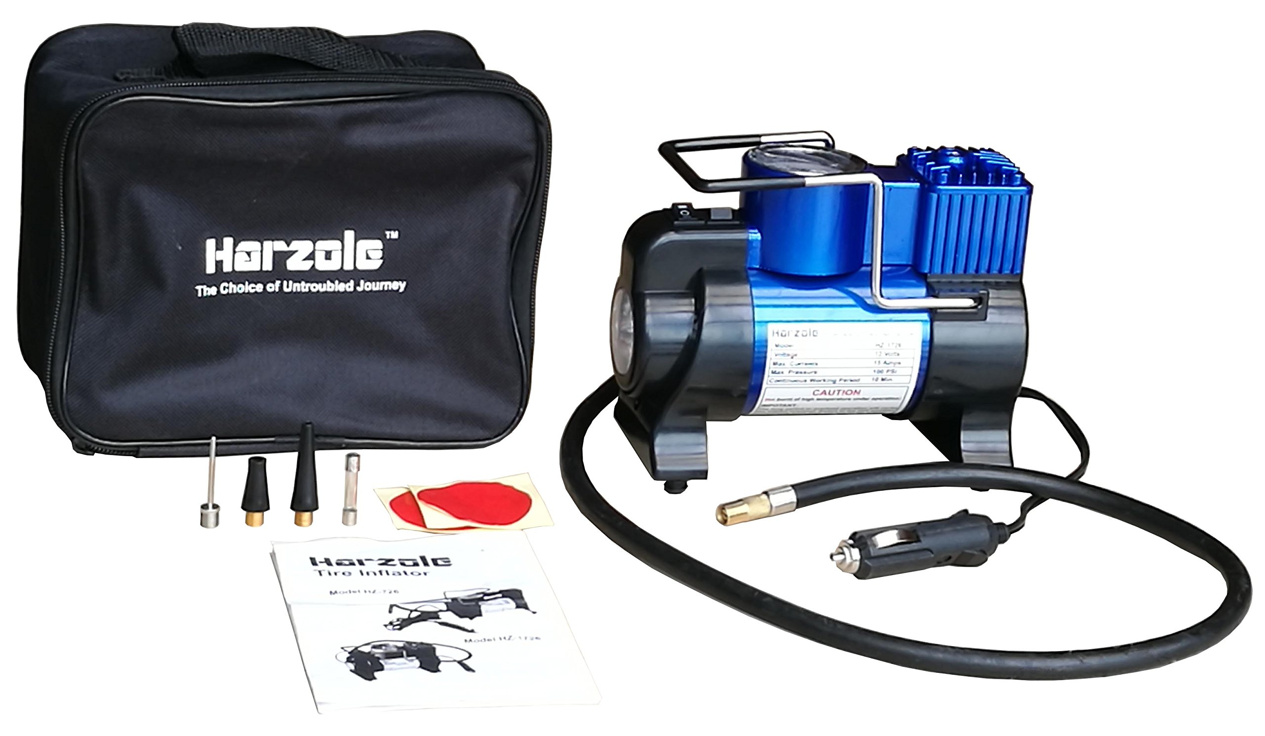 Harzole DC 12V Car Air Pump, Tire Inflator, Portable Air Compressor with LED Lighter HZ-1726