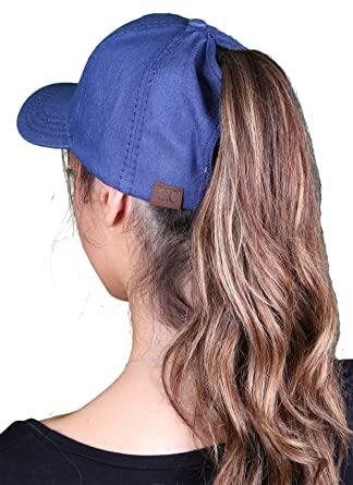 c56794bb9a0f6 Funky Junque Women s C.C High Ponytail Messy Bun Denim Adjustable Baseball  Cap