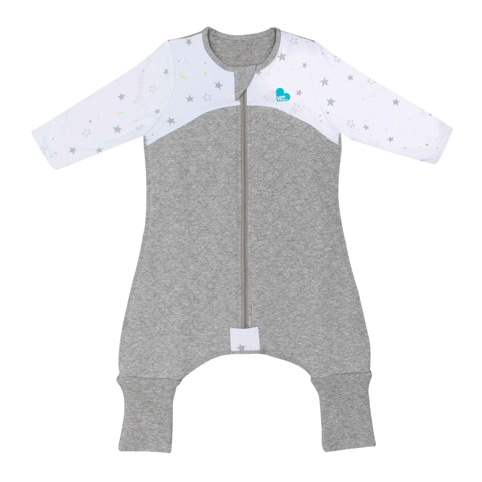 Love To Dream Sleep Suit, 2.5 TOG, White, 12-24 Months, Premium All-in-one Quilted Wearable Blanket That can't be Kicked Off, Legs with 2-in-1 feet Perfect for Sleep & Play, Ideal for Active Toddlers by Love to Dream