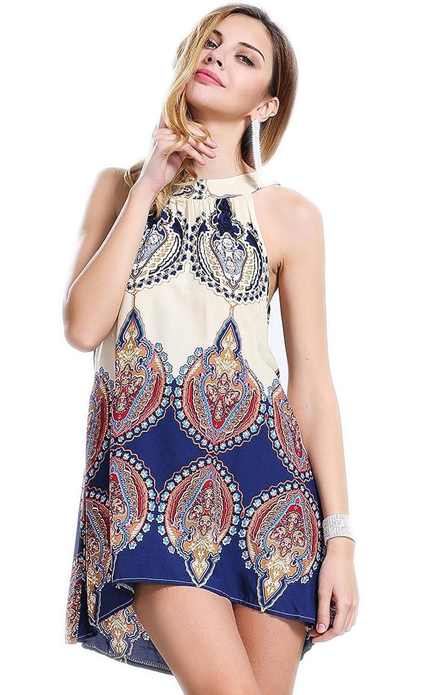 Ecowish Frauen-Sommer-Sleeveless Stammes- Druck beiläufige Mini Strand Blumentunikakleid