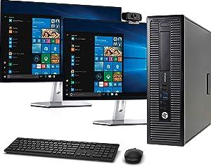 HP 800 G1 SFF Computer Desktop PC, Intel Core i5 3.2GHz, 16GB Ram, 128GB M.2 SSD, 2TB HDD, Wireless Keyboard & Mouse, Wifi | Bluetooth,1080p Webcam, Dual HP 23.8