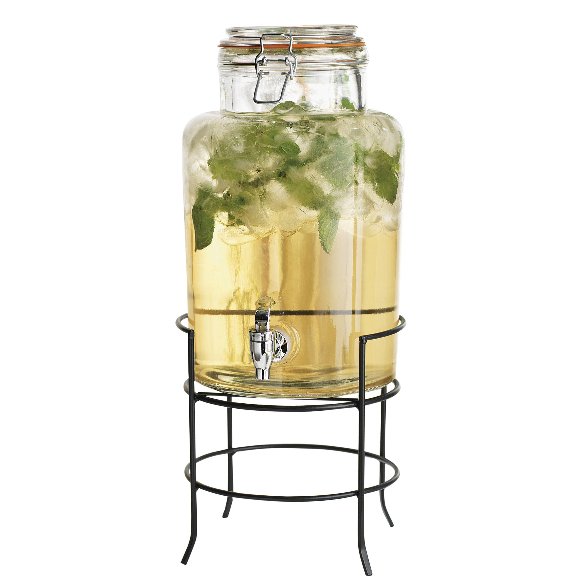 Elegant Home Beverage Drink Dispenser Durable Glass on Stand 1.5 Gallon with Spigot Includes Flavor Capsule infuser