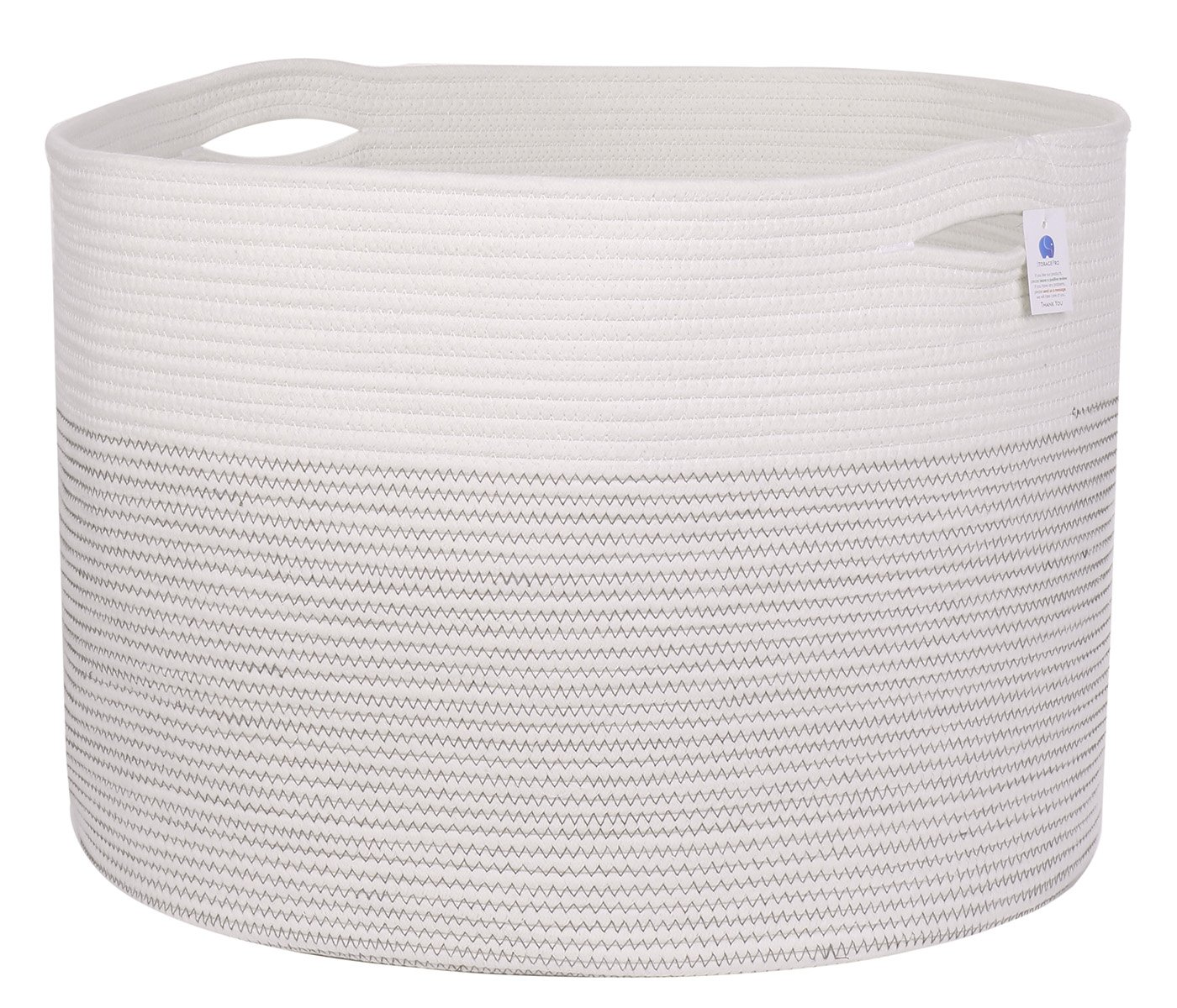 22'' x 22'' x 16'' Mega Size Extra Large Storage Basket, Cotton Rope Storage Baskets, Woven Laundry Hamper, Toy Storage Bin, for Toys Towel Blanket Basket in Living Room Baby Nursery, Large Basket White