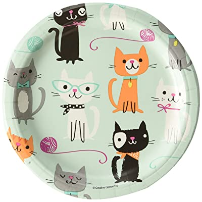 """Creative Converting 328595 Purr-FECT Paper Dessert Plates Party Supplies, 7"""", Multicolor: Toys & Games"""