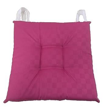Set 4 cojines de tela antimanchas color fucsia, pespunte al ...