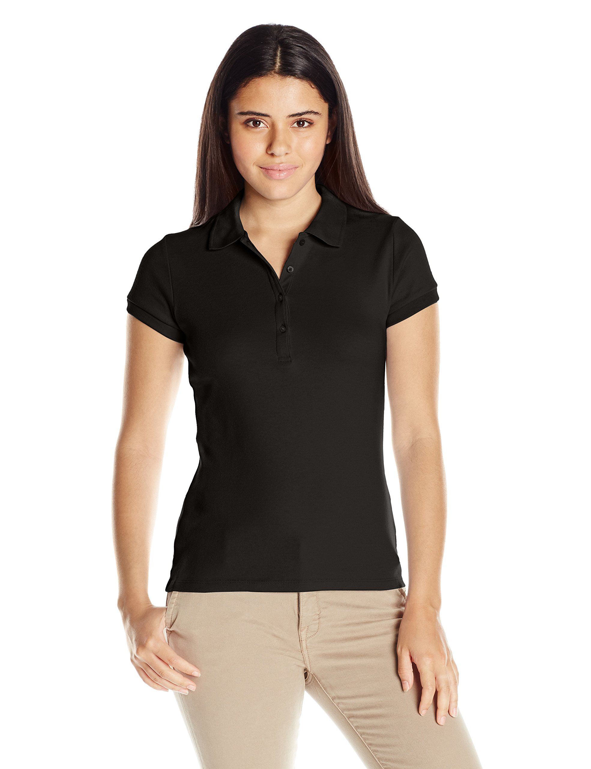 IZOD Junior's Uniform Short Sleeve Interlock Polo, Black, Small