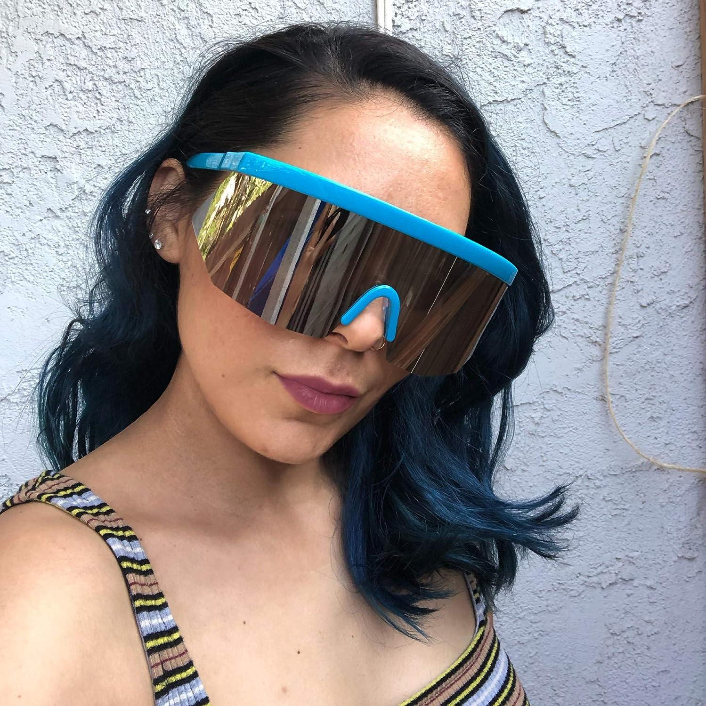 SunglassUP Super Oversize Flat Top Geometric Single Face Shield Neon Visor 80s Style Sunglasses with Mirrored or Smoke Lens