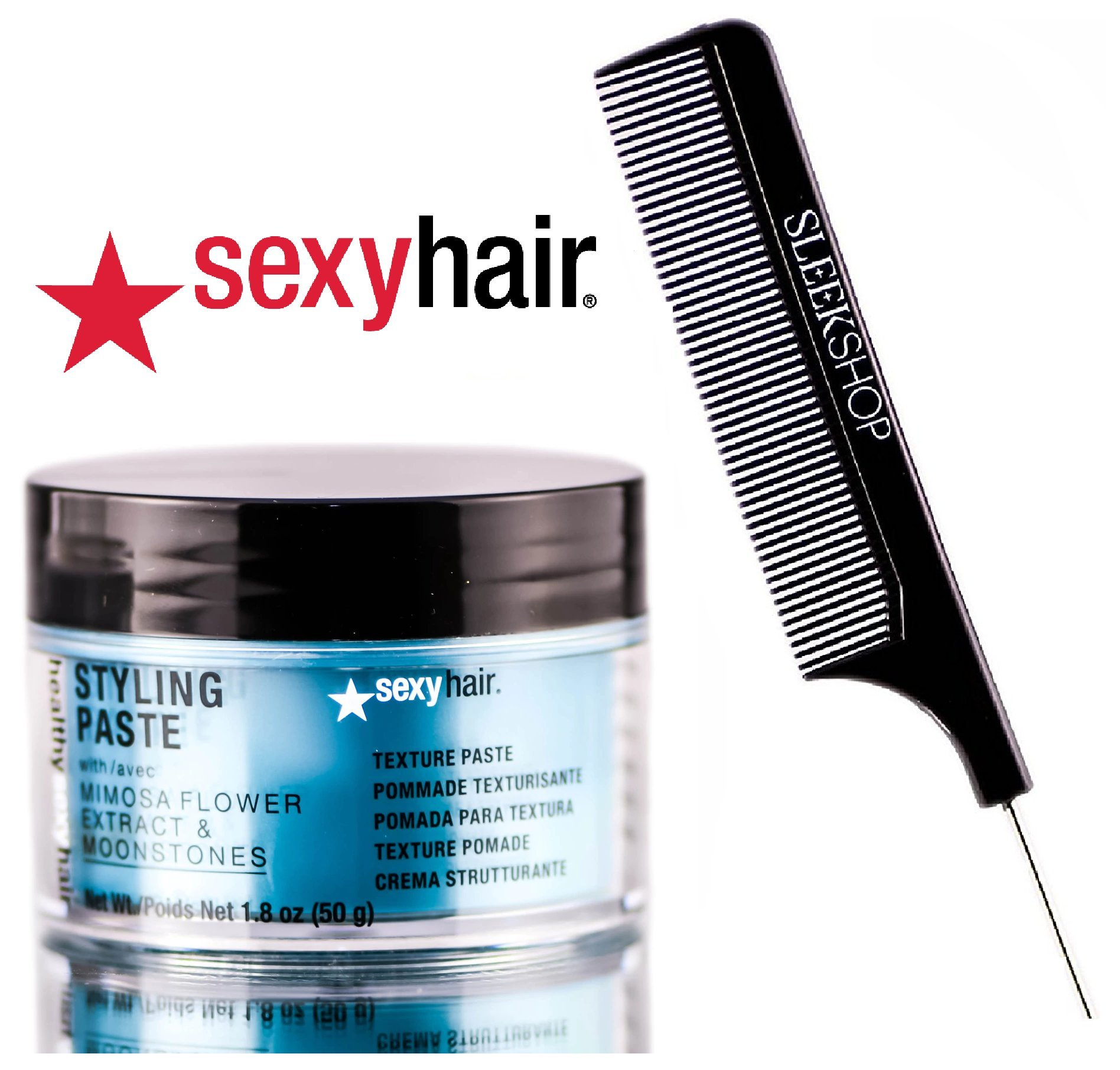 Healthy Sexy Hair STYLING PASTE (previously Soy Paste) Mimosa Flower & Moonstones TEXTURE POMADE (with Sleek Steel Pin Tail Comb) (1.8 oz / 50 g)